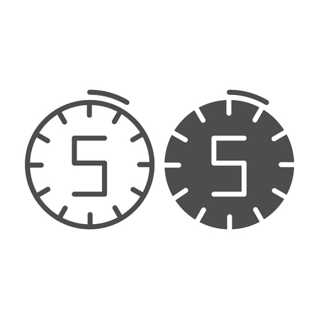 Five minutes clock line and glyph icon. Time vector illustration isolated on white. Watch outline style design, designed for web and app. Eps 10