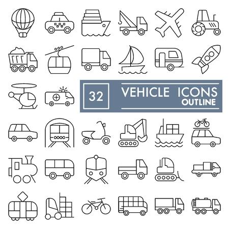 Jeu d'icônes de ligne de véhicule, collection de symboles de transport, croquis de vecteur, illustrations de logo, paquet de pictogrammes linéaires de panneaux de signalisation isolé sur fond blanc