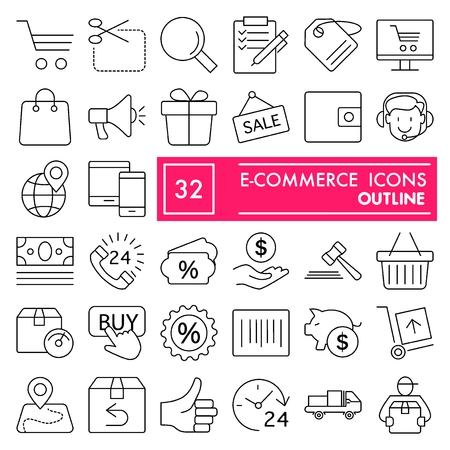 E-commerce with inscription line icon set, store symbols collection, vector sketches, logo illustrations, shop signs linear pictograms package isolated on white background