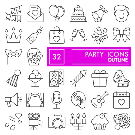 Party line icon set, celebration symbols collection, vector sketches, logo illustrations, entertainment signs linear pictograms package isolated on white background Logo