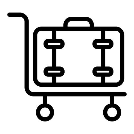 Luggage on cart line con. Baggage trolley vector illustration isolated on white. Cargo outline style design, designed for web and app. Eps 10