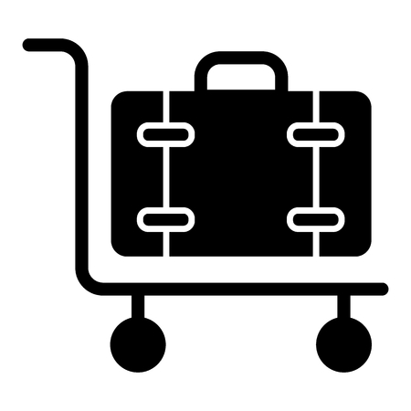 Luggage on cart solid con. Baggage trolley vector illustration isolated on white. Cargo glyph style design, designed for web and app. Eps 10