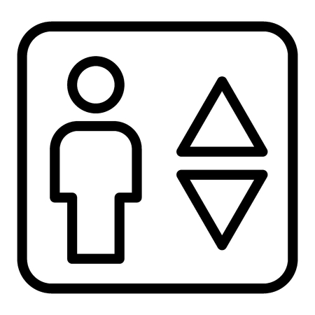Elevator line icon. Man and lift arrows vector illustration isolated on white. Up and down arrows outline style design, designed for web and app. Eps 10 Illustration