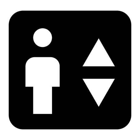 Elevator solid icon. Man and lift arrows vector illustration isolated on white. Up and down arrows glyph style design, designed for web and app. Eps 10