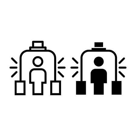 Metal detector line and glyph icon. Scanner vector illustration isolated on white. Airport security outline style design, designed for web and app. Eps 10