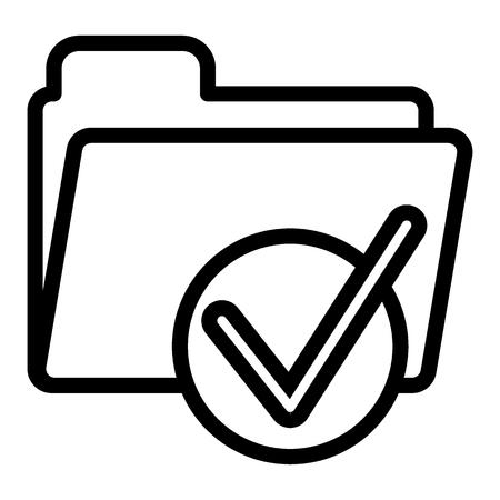 Dossier avec l'icône de la ligne de graduation. Prêt à signer sur l'illustration vectorielle de dossier isolé sur blanc. Dossier de documents avec conception de style de contour de coche, conçu pour le Web et l'application.