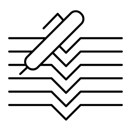 Pen and notebook thin line icon. Document vector illustration isolated on white. School notepad outline style design, designed for web and app.