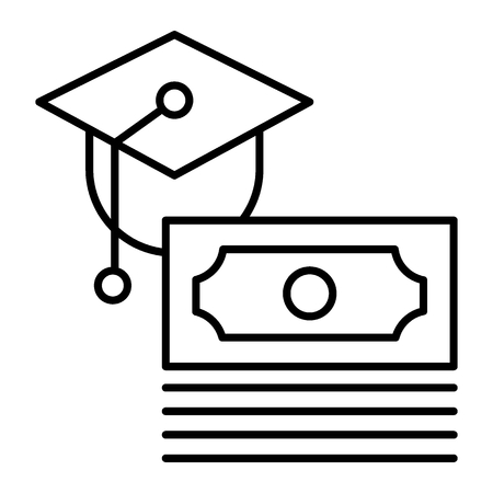 Scholarship thin line icon. Paid for education vector illustration isolated on white. Money and graduate cap outline style design, designed for web and app. Eps 10