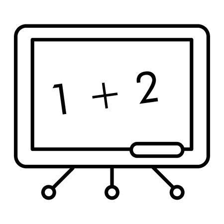 Blackboard thin line icon. Math lesson blackboard vector illustration isolated on white. School board outline style design, designed for web and app.