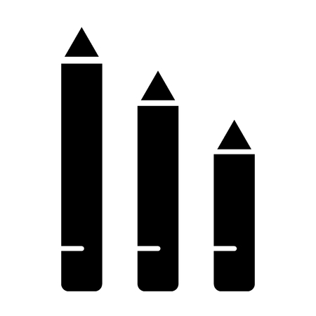 Pencils solid icon. Draw vector illustration isolated on white. School pencils glyph style design, designed for web and app.