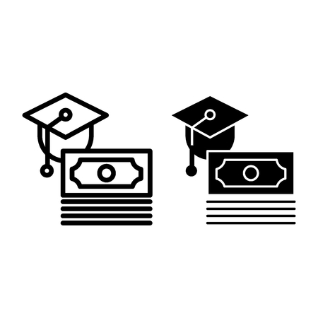 Scholarship line and glyph icon. Paid for education vector illustration isolated on white. Money and graduate cap outline style design, designed for web and app. Eps 10 Vectores