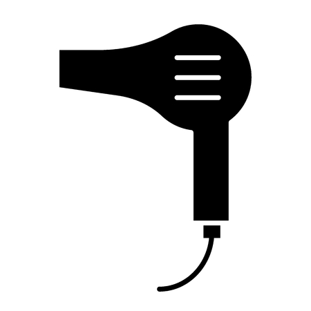 Hair dryer solid icon. Blow dryer illustration isolated on white. Electrical appliance glyph style design, designed for web and app. Eps 10 Ilustração