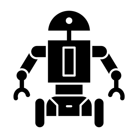 Robot on wheels solid icon. Movable android vector illustration isolated on white. Cyborg character glyph style design, designed for web and app.