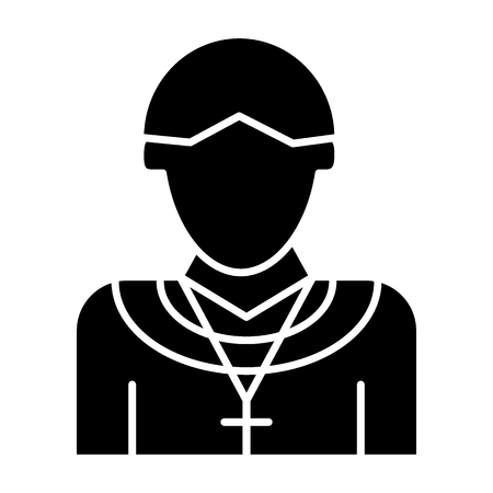Priest solid icon. Christian vector illustration isolated on white. Chaplain glyph style design, designed for web and app.