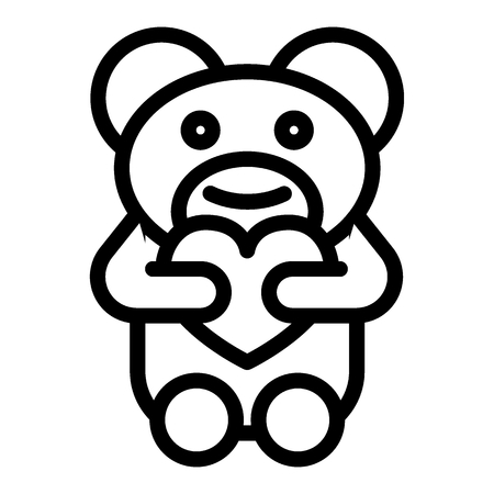 Teddy bear with heart line icon. Toy illustration isolated on white. Gift outline style design, designed for web and app. Eps 10