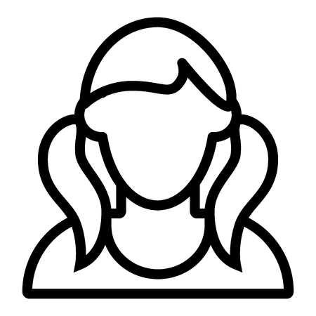Girl with tails avatar line icon. Faceless girl with two tails vector illustration isolated on white. Female portrait outline style design, designed for web and app.