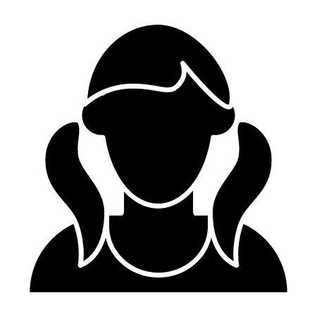 Girl with tails avatar solid icon. Faceless girl with two tails vector illustration isolated on white. Female portrait glyph style design, designed for web and app  イラスト・ベクター素材