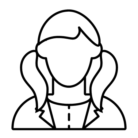Girl with tails avatar thin line icon. Faceless girl in jacket vector illustration isolated on white. School girl portrait outline style design, designed for web and app