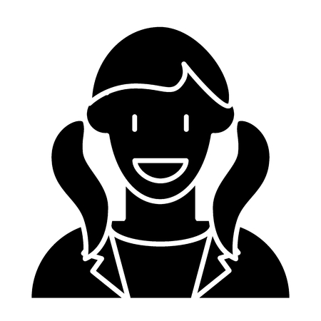 2つの尾アバターソリッドアイコンを持つ女の子。●笑顔の女の子プロフィールベクターイラストが白色に隔離。ジャケットグリフスタイルのデザインの女性は、ウェブとアプリのために設計されています。