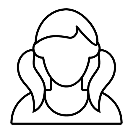 Girl with tails avatar thin line icon. Faceless girl with two tails vector illustration isolated on white. Female portrait outline style design, designed for web and app.