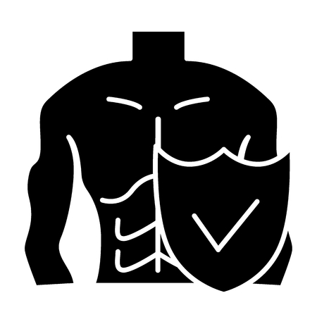 Homme musclé et icône solide de bouclier. Illustration de vecteur de protection du corps masculin isolé sur blanc. Conception de style glyphe de type figure et bouclier, conçue pour le Web et l'application.
