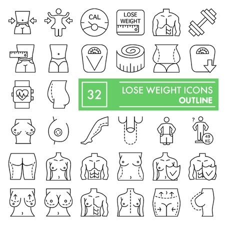 Lose weight thin line icon set, body symbols collection, vector sketches, logo illustrations, surgery signs linear pictograms package isolated on white background