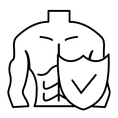 Muscle man and shield thin line icon. Male body protection vector illustration isolated on white. Guy figure and shield outline style design, designed for web and app Archivio Fotografico - 109883751