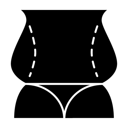 Female back fat figure solid icon. Obesity woman body vector illustration isolated on white. Overweight girl glyph style design, designed for web and app