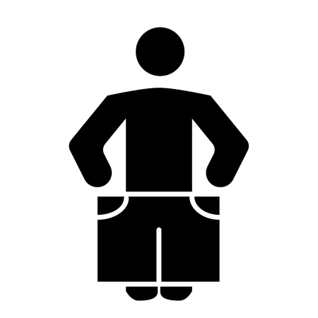 Slim person ib big shorts solid icon. Weight loss vector illustration isolated on white. Human slim figure glyph style design, designed for web and app. Stock Photo
