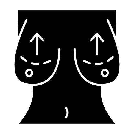 Festes Symbol für Bruststraffung. Weibliche Körperliftvektorillustration lokalisiert auf Weiß. Chest Plastik Glyph Style Design, entworfen für Web und App. Vektorgrafik