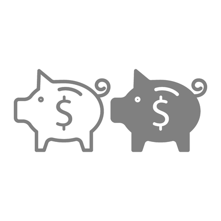 Savings line and glyph icon. Saving money vector illustration isolated on white. Piggy bank outline style design, designed for web and app. Eps 10 Illustration