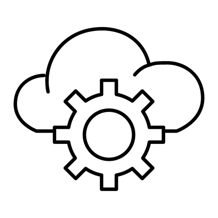 Cloud storage settings thin line icon. Cloud with gear vector illustration isolated on white. Cloud service outline style design, designed for web and app