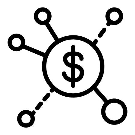Icona della linea di flussi di entrate. Illustrazione di vettore di diffusione del dollaro isolata su bianco. Design infografico in stile contorno, progettato per web e app.