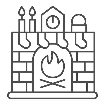 Christmas fireplace thin line icon. Xmas interior vector illustration isolated on white. Xmas and fire outline style design, designed for web and app. Eps 10