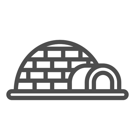 Igloo line icon. Icehouse vector illustration isolated on white. Antarctic outline style design, designed for web and app.