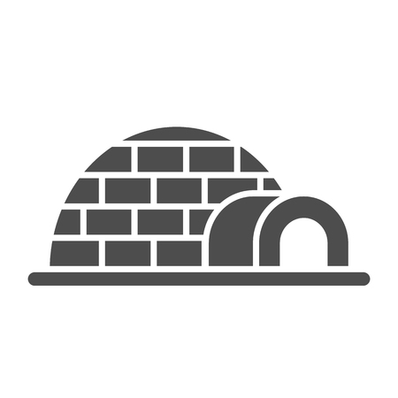 Igloo solid icon. Icehouse vector illustration isolated on white. Antarctic glyph style design, designed for web and app. Illustration