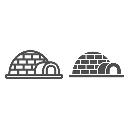 Igloo line and glyph icon. Icehouse vector illustration isolated on white. Antarctic outline style design, designed for web and app. Illustration