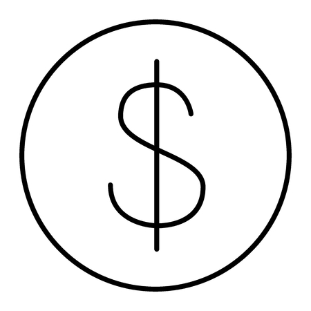 Dollar sign thin line icon. Currency vector illustration isolated on white. Money outline style design, designed for web and app. Illustration