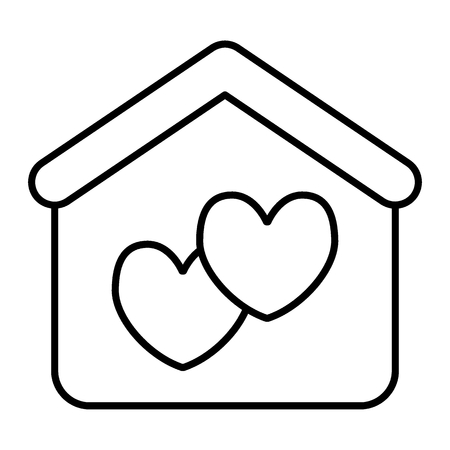 House with heart thin line icon. Marriage house vector illustration isolated on white. Love house outline style design, designed for web and app.