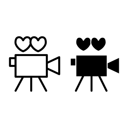 Wedding party film line and glyph icon. Video camera pierced with arrow vector illustration isolated on white. Cinema camera outline style design, designed for web and app. Vectores