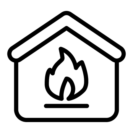 Home fire line icon. Fire in the house vector illustration isolated on white. House on fire outline style design, designed for web and app.