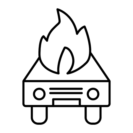 Car on fire thin line icon. Fire in auto vector illustration isolated on white. Burning automobile outline style design, designed for web and app. Illustration