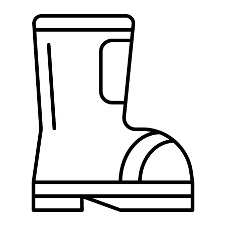 Firefighter boot thin line icon. Fire rubber boot vector illustration isolated on white. Fire uniform outline style design, designed for web and app. Vetores