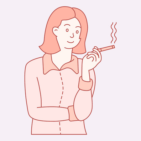 business woman character smoking bust shot. clored hand drawn style vector design illustrations