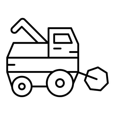 Combine harvester thin line icon. Gathering harvest vector illustration isolated on white. Agricultural outline style design, designed for web and app. Illusztráció