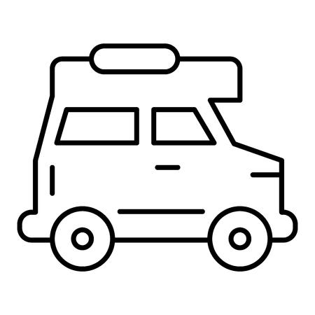Cruiser car thin line icon. Travel van vector illustration isolated on white. Car outline style design, designed for web and app.