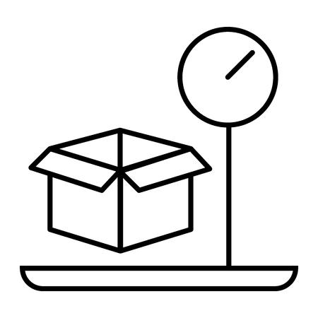 Frachtgewicht dünne Liniensymbol. Gepäck- und Skalavektorillustration lokalisiert auf Weiß. Box auf Waagen-Design im Umrissstil, entwickelt für Web und App Vektorgrafik