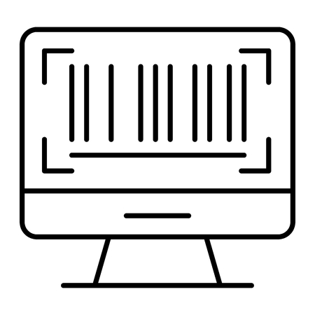 Barcode on screen thin line icon. Barcode on computer monitor vector illustration isolated on white. Code outline style design, designed for web and app Ilustração