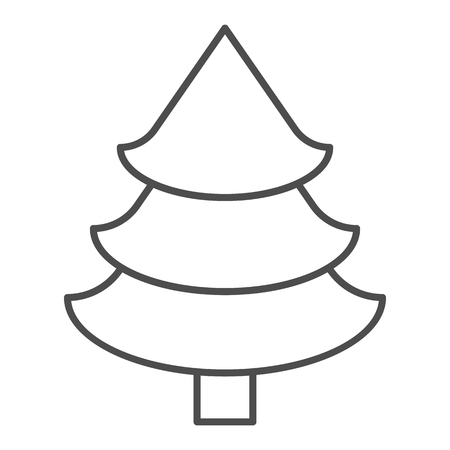 Fir tree thin line icon. Christmas tree vector illustration isolated on white. Spruce outline style design, designed for web and app Illusztráció