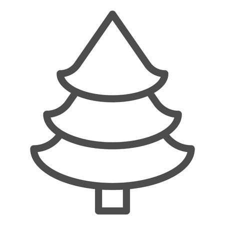 Fir tree line icon. Christmas tree vector illustration isolated on white. Spruce outline style design, designed for web and app.
